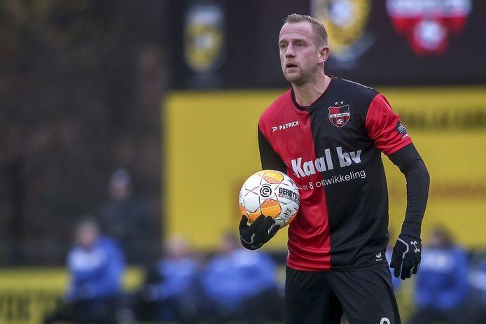 De Treffers-speler Sjoerd Ars tijdens de uitwedstrijd tegen Jong Vitesse.