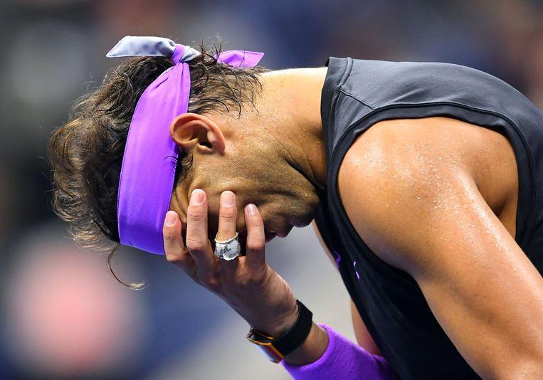 Tranen rollen over de wangen van Rafael Nadal na het veroveren van zijn negentiende grandslamtitel in de finale van de US Open. Beeld AFP