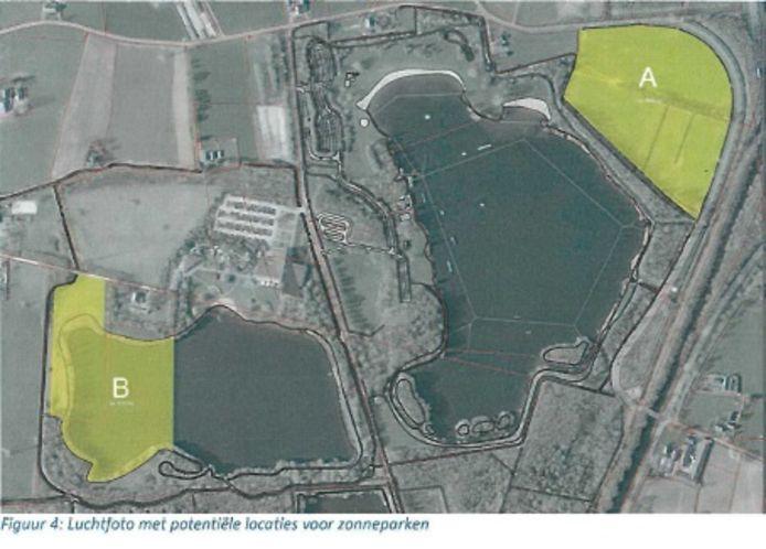 De twee beoogde locaties voor een park met zonnepanelen in Emst.