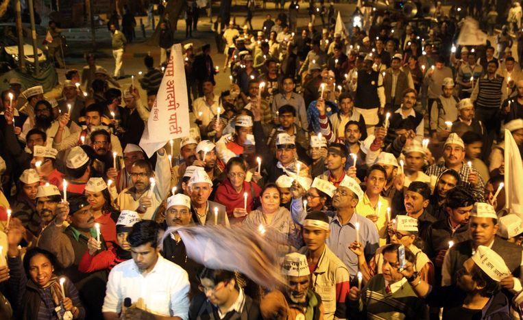 De Aam Aadmi Partij demonstreert tegen de verkrachting van de vrouw. Beeld epa