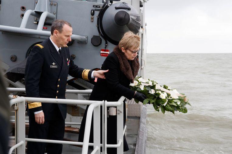 Alison Rose twee jaar terug,  bij de herdenking van de scheepsramp met The Herald of Free Enterprise.  Beeld REUTERS