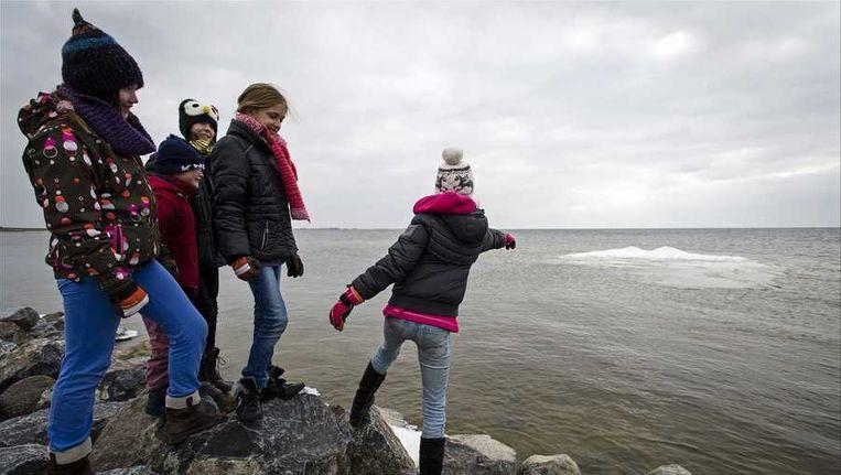 Kinderen in dikke jassen nemen een kijkje bij een ijsschots in het IJsselmeer Beeld anp