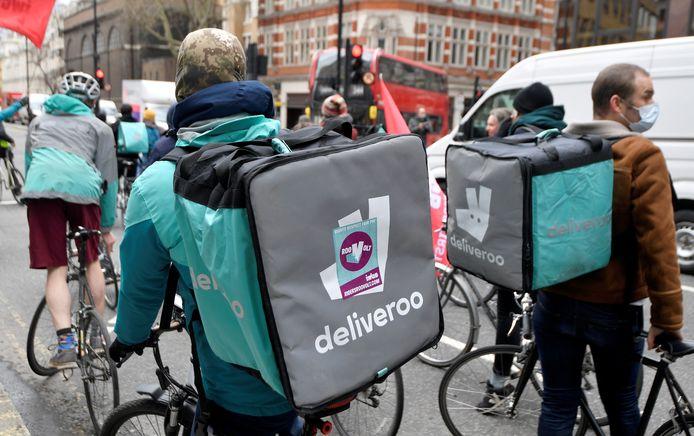 Deliveroo-koeriers in Londen voerden in april nog actie voor een betere arbeidsovereenkomst.