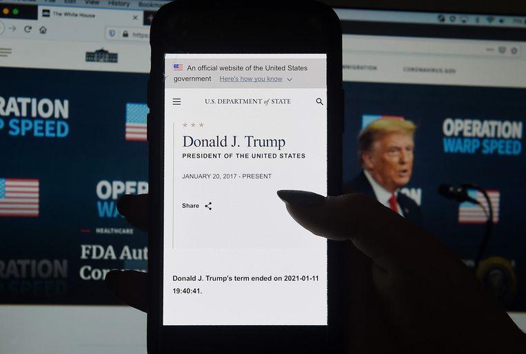 De website van het Amerikaanse ministerie van Buitenlandse Zaken waarop te lezen was dat Trumps termijn al ten einde is. Beeld AFP