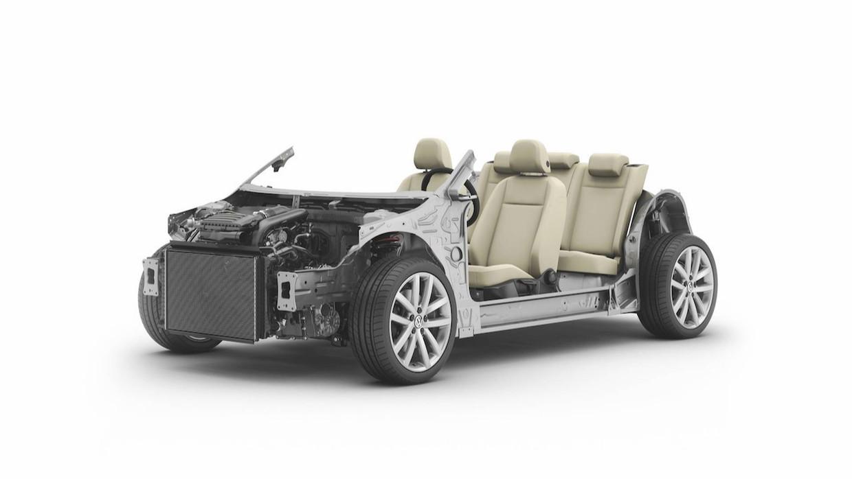 Op dit MQB-chassis bouwt Volkswagen tientallen automodellen. Beeld Volkswagen