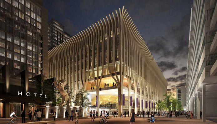 Het ontwerp voor het nieuwe cultuurpaleis aan het Spui van de architecten Jo Coenen en Patrick Fransen.
