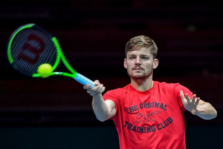 Belgium's David Goffin returns the ball during a training session at the Pierre-Mauroy Stadium in Villeneuve d'Ascq on November 22, 2017, ahead of the Davis Cup World Group final between France and Belgium. / AFP PHOTO / PHILIPPE HUGUEN Beeld AFP