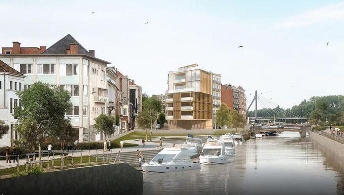 Zo werd de nieuwe passantenhaven aan de Dolfijnkaai voorgesteld in 2018, door Team Burgemeester. Maar dat kan dus niet omdat de Kasteelbrug (op de achtergrond) te laag is voor plezierbootjes. De plannen worden nu aangepast