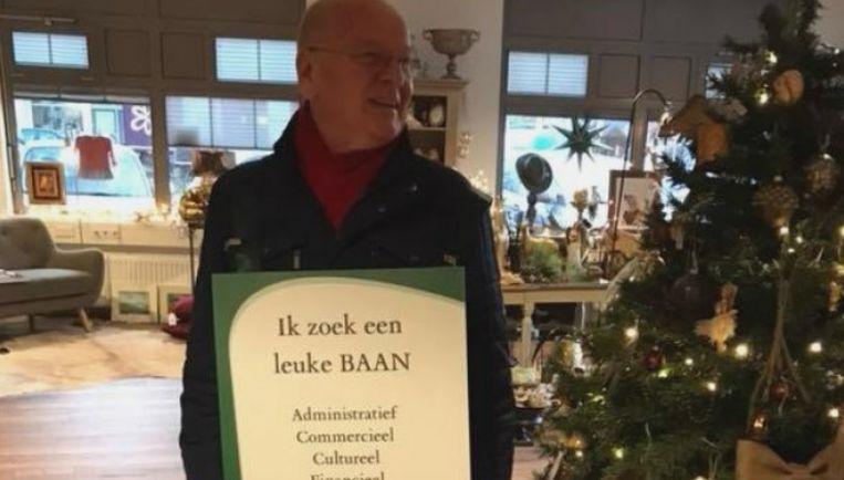 Jos Miedendorp De Bie Stenvert met zijn sandwichbord.