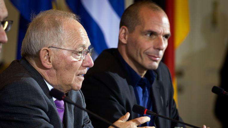 De Duitse minister van Financiën Wolfgang Schaüble en zijn Griekse evenknie Varoufakis.