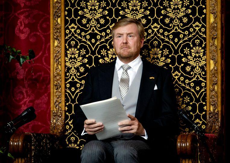 De koning las de Troonrede dit jaar voor in de Grote Kerk in Den Haag. Beeld ANP