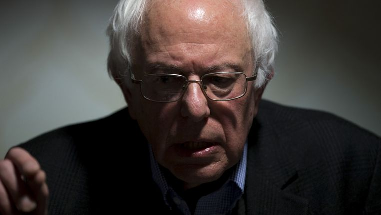 Bernie Sanders op een persconferentie in januari. Beeld ap