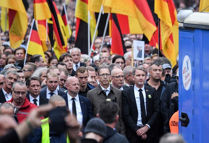 AfD-kopstukken liepen zaterdag voorop in de 'stille' tocht in Chemnitz
