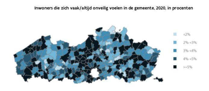 Grafiek uit Stadsmonitor: inwoners die zich vaak/altijd onveilig voelen in de gemeente in 2020 in procenten.