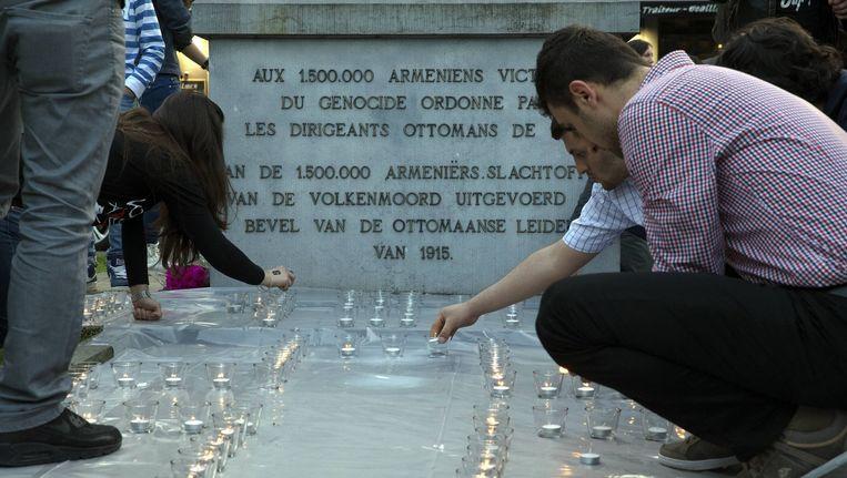 Gisteren kwamen ook al veel mensen samen in Brussel voor de herdenking van de Armeense genocide.Beeld BELGA