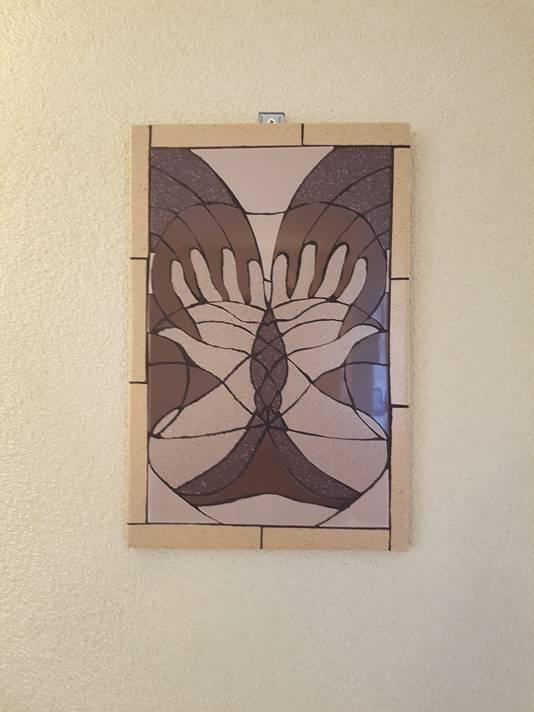OAZE (Ontvankelijkheid, Aandacht, Zorg en Eenvoud), het eerste werk dat Hemelaar in haar atelier maakt.