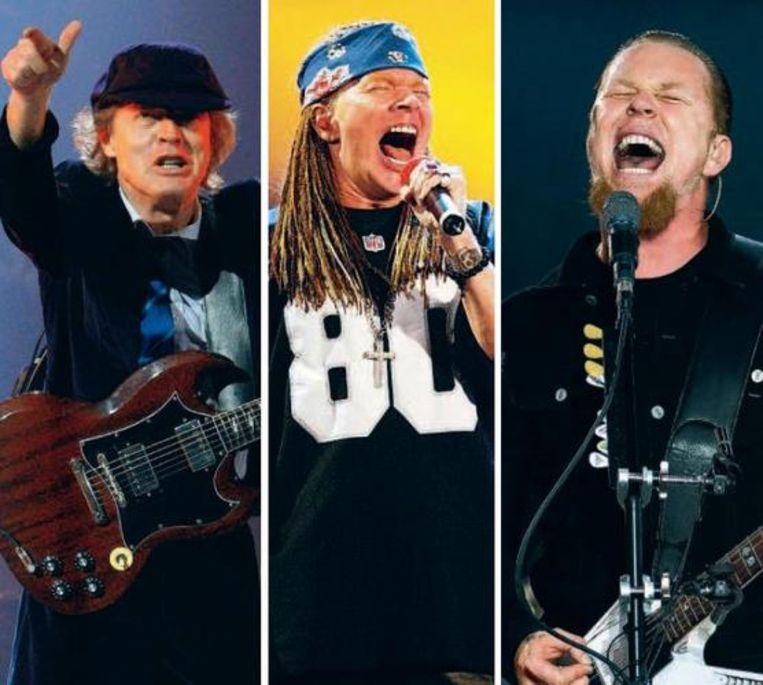 Angus Young van AC/DC, Axl Rose van Guns N' Roses en James Hetfield van Metallica. Beeld UNKNOWN