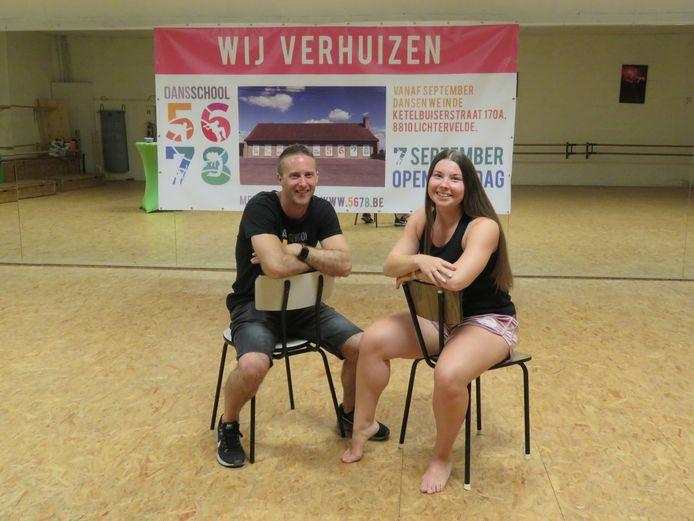 Kevin Gunst en Femke Piette verhuizen hun Dansschool 5678 van de Hogewielkestraat naar de Ketelbuizerstraat.