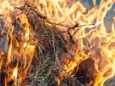 Stapel hooibalen in brand in Sint Philipsland