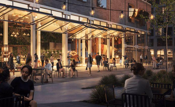 De toekomstige markthal aan de Kanaalweg, als onderdeel van de nieuwe stadswijk Merwede.