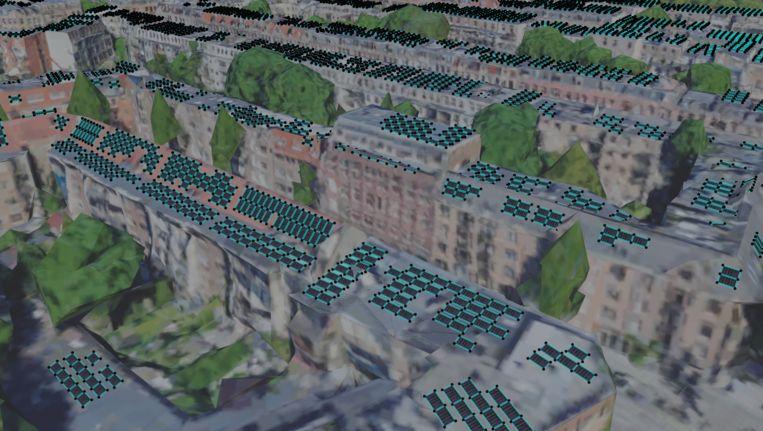 Het resultaat van alle berekeningen: een computerschets van de panelen die op de daken zouden passen. Beeld AMS Institute