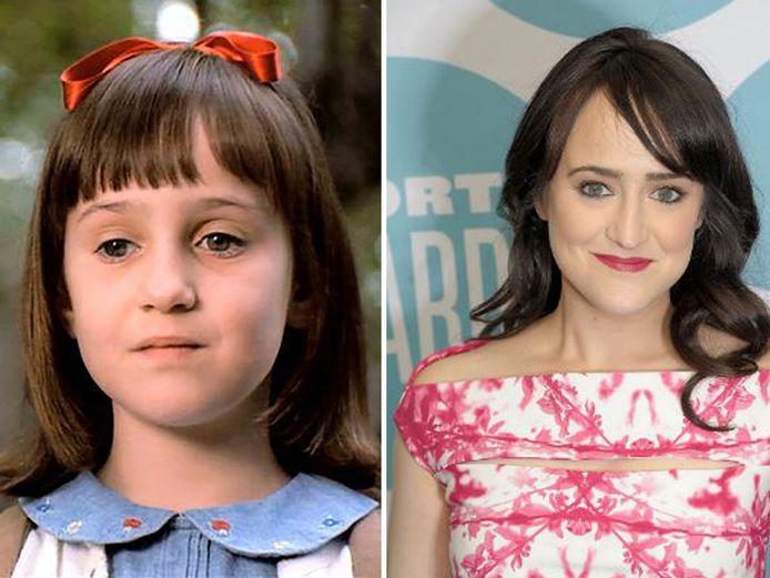 Mara Wilson toen ze Matilda speelde (links) en in 2017 (rechts).