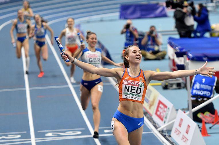 Femke Bol wint bij de EK indoor de 400 meter individueel.  Beeld Sportsfile via Getty Images
