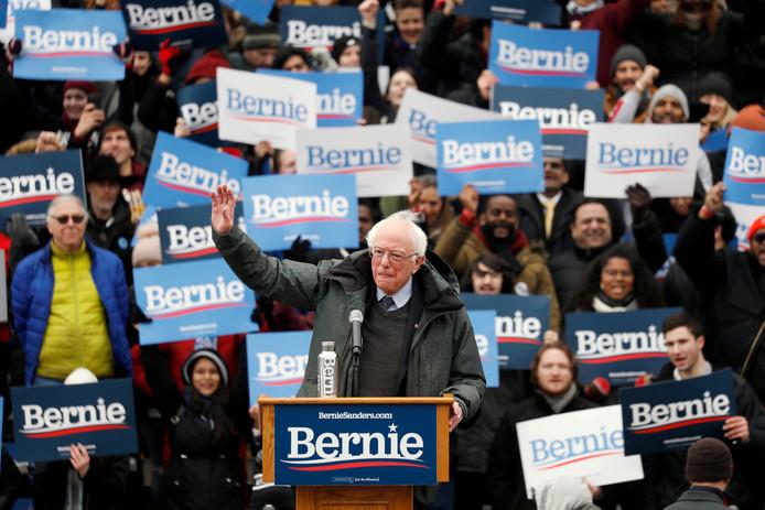 Senator en presidentskandidaat Bernie Sanders tijdens de start van zijn vierkiezingscampagne in Brooklyn in New York.