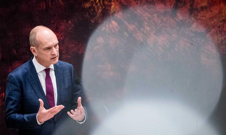 Gert-Jan Segers (ChristenUnie) kwam samen met Sigrid Kaag (D66) met de oproep dat de koning en aanstaande ministers moeten wegblijven bij het WK voetbal in Qatar in 2022. Beeld ANP