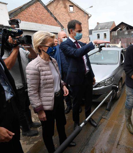 Alexander De Croo et la présidente de la Commission en visite dans les communes sinistrées