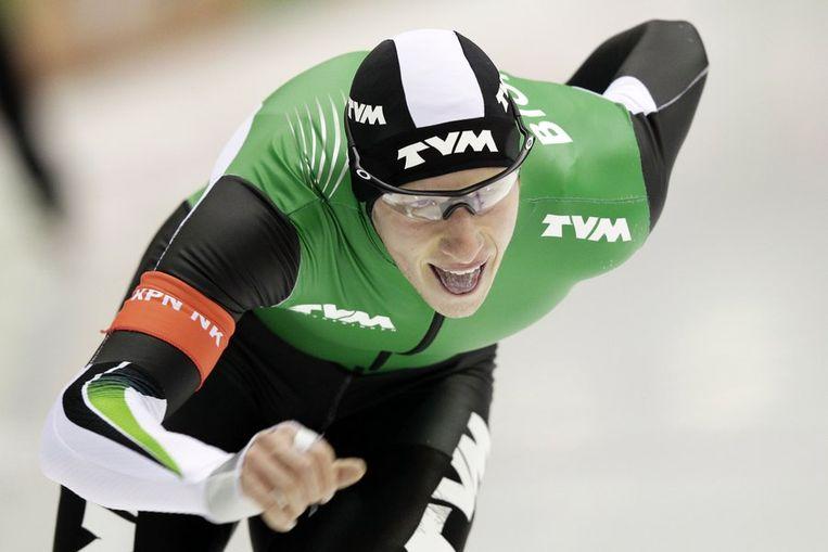 Jan Blokhuijsen op de 5000 meter tijdens de selectiewedstrijden voor het EK in Heerenveen. Beeld anp