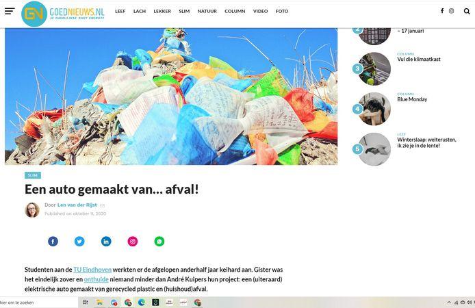 Jeroen Wiercx, geboren in Valkenswaard, maakt de site goednieuws.nl