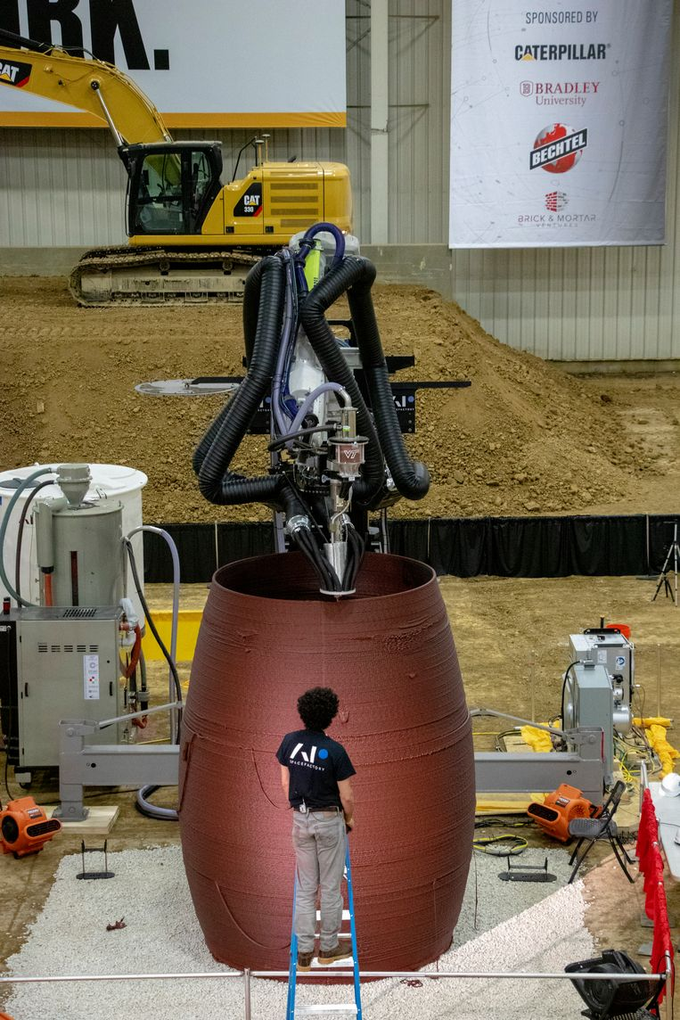 De printer van AI Spacefactory, hard aan het werk aan Marsha. Beeld AI Spacefactory/Plomp
