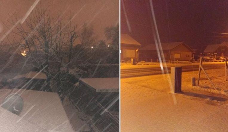 In sommige delen van Vlaanderen ligt er vanochtend een sneeuwtapijtje. Beeld Twitter
