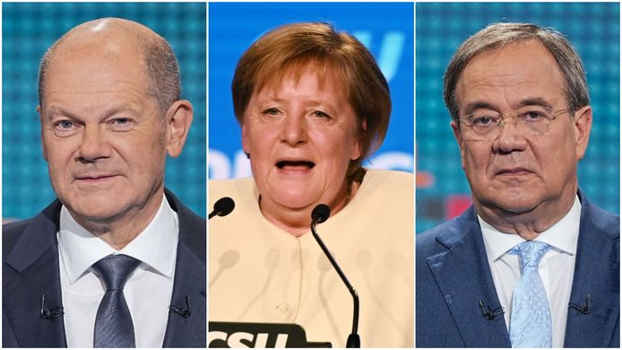 vlnr: Olaf Scholz, Angela Merkel, Armin Laschet