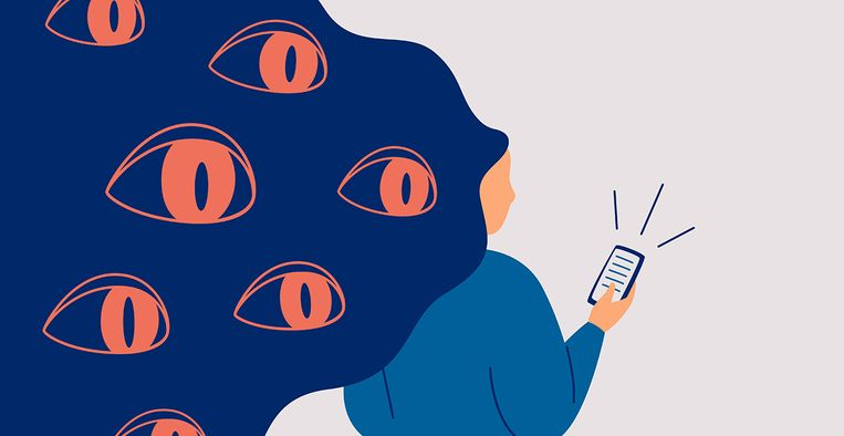 Spywares spy through the phone. Big eyes peek from hair at smartphone of woman. Concept of safety use personal data in social media and internet. Vector illustration Beeld Getty Images/iStockphoto