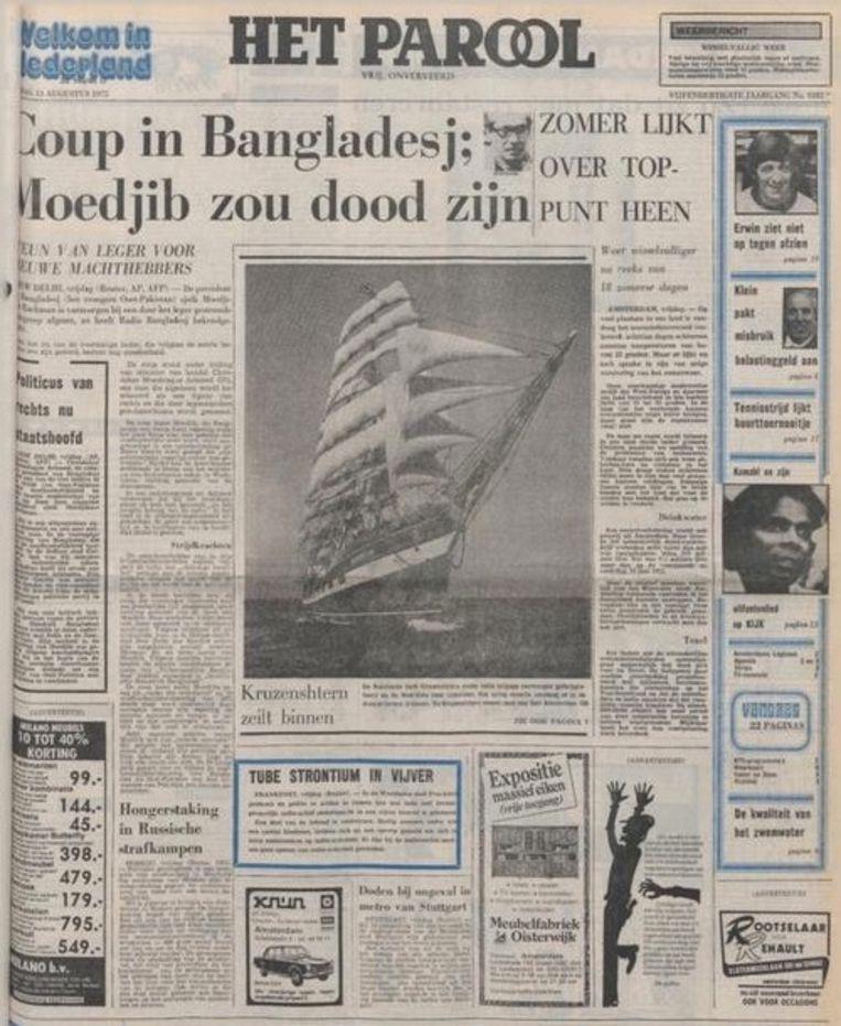 De voorpagina van Het Parool van 15 augustus 1975. Beeld Het Parool