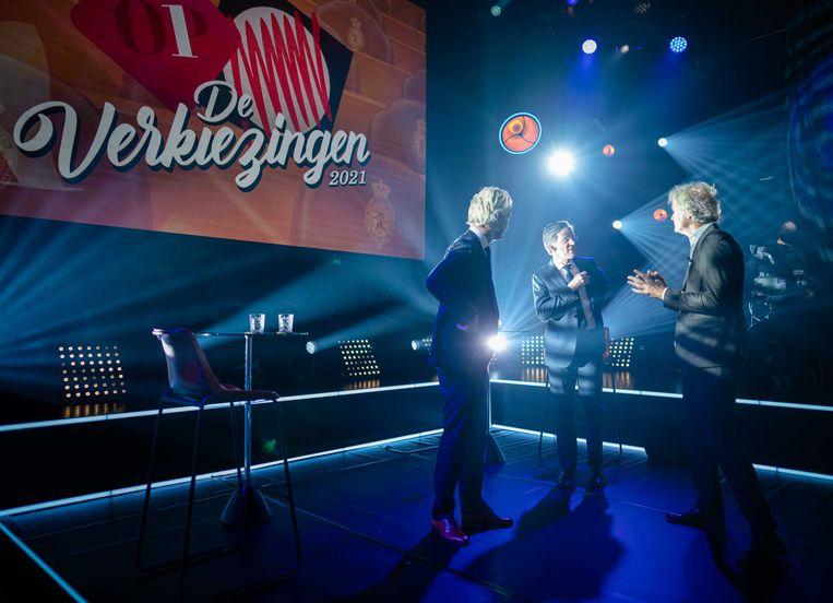 Lijsttrekkers Geert Wilders (PVV) en Mark Rutte (VVD) tijdens een van Pauws verkiezingsdebatten.  Beeld ANP