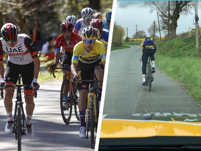 Links: Roglic versus Pogacar in het Baskenland. Rechts: Roglic verkende zondag al de twee Tourtijdritten.