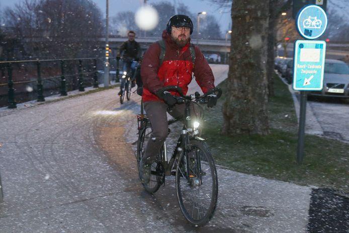 Eerste sneeuwvlokken in Gent in de Visserij.