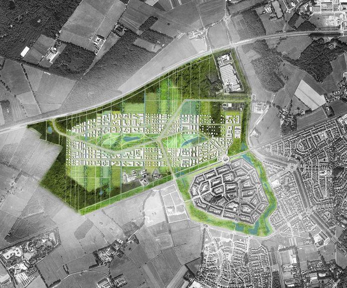 Plattegrond van de Slimme Wijk in Helmond-Brandevoort, ook wel Brainport Smart District geheten. De golvende lijn is de N270.