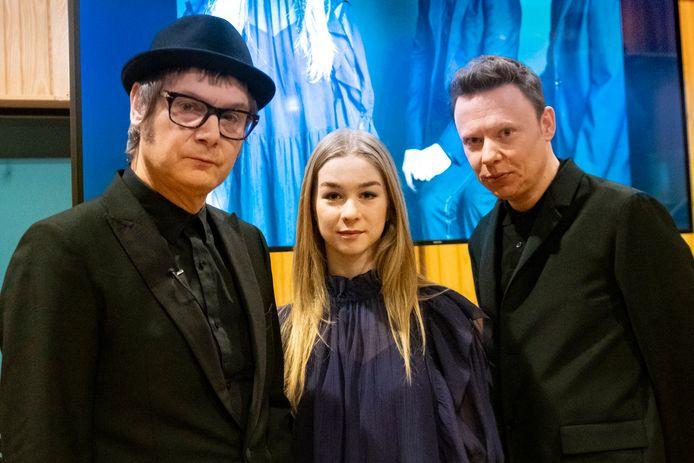 Raymond Geerts, Luka Cruysberghs en Alex Callier bij de bekendmaking van hun 'vorige' Songfestivalnummer