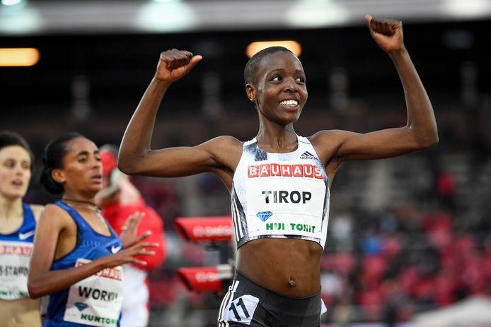 Agnes Tirop lors de sa victoire en 1500 mètres au meeting Diamond League de Stockholm en 2019.