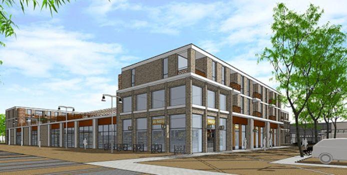 Zo moet het gebouw met Jumbo-supermarkt en 32 appartementen aan de Boei eruit komen te zien.