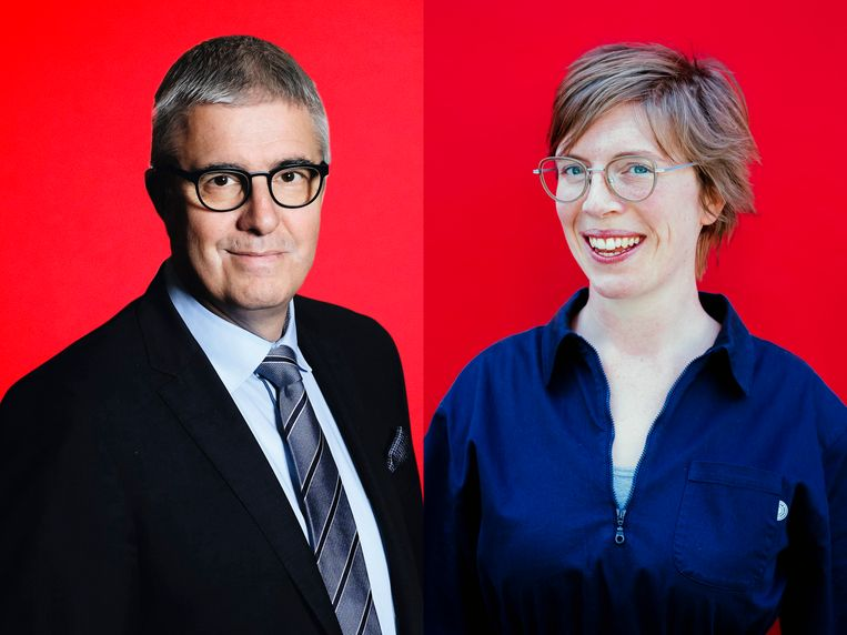 Pieter Timmermans (Verbond Belgische Ondernemingen) en Sarah De Groof (Acerta). Beeld © Stefaan Temmerman