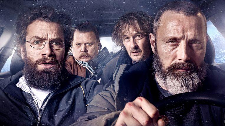In Riders of Justice gaan vier mannen, gespeeld door (vlnr) Nikolaj Lie Kaas, Nicolas Bro, Lars Brygmann en Mads Mikkelsen, op zoek naar de waarheid.        Beeld September Film