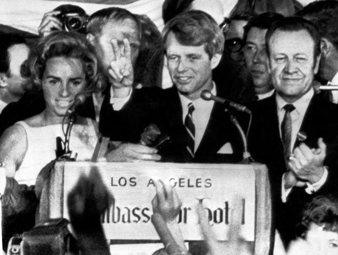 Robert Kennedy in 1968, een dag voordat hij werd vermoord door een Palestijnse activist.