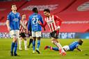 Vitesse gaat in de slotfase onderuit bij PSV, op gang getrokken door de hier juichende invaller Donyell Malen.