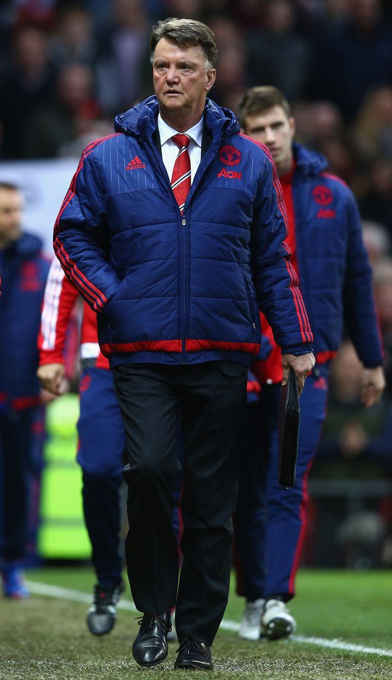 Louis van Gaal voorafgaand aan de wedstrijd tegen Norwich City. Beeld GETTY