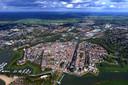 Een luchtfoto van Gorinchem.